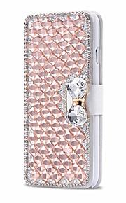 luksus skinnende diamant full pu lærveske deksel med trygt spenne mobiltelefon bling case for iPhone 6 / 6s