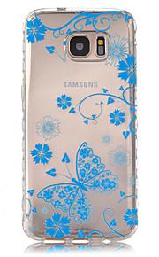 サムスンギャラクシーS7 / S7エッジの青の蝶パターンスリップTPU電話ケース