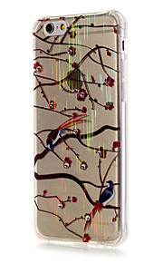 Luxury Brushed TPU Plum Bird Pattern The Drill Phone Shell Drop Resistance for iPhone 6/6S/6 Plus/6S Plus
