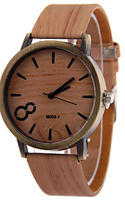Men's Brown Case Wood Shape PU Leather Band Analog Quartz Wrist Watch