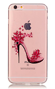 TPU High-Heeled Shoes Pattern Transparent Soft Back Case for iPhone 6s 6 Plus