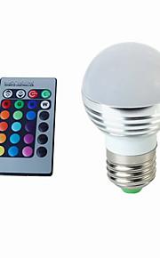 3W E26/E27 장식 조명 G45 1 고성능 LED 300 lm RGB 리모컨 작동 AC 85-265 V 1개