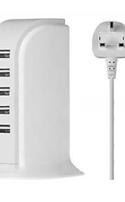 5 Porte USB Porte Multi Presa Uk caricatore domestico con cavo per iPad / per il cellulare / Per Altro Pad / For iPhone5V , 1A / 2,1A /