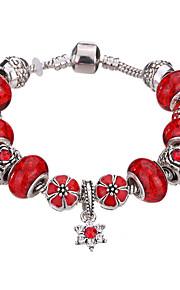 Charm-armbånd / Bangles / Manchetarmbånd / Strand Armbånd / Silver Bracelets 1pc,Pudebetræk / Sølv / Hvid / Rød / Grøn / Lilla / Pink