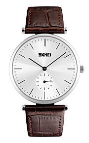 Unissex Relógio Elegante Quartz Impermeável Couro Banda Legal Preta / Marrom marca