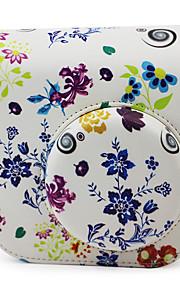 blomster pu læderetui med aftagelig skulderrem og lomme til Fujifilm instax mini 8/8 + øjeblikkelig kamera