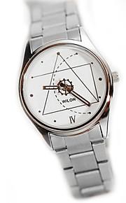 Mulheres Relógio de Moda Quartz Relógio Casual Aço Inoxidável Banda Prata marca-