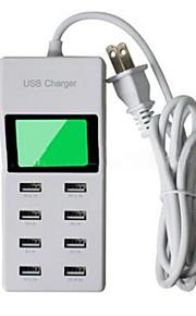 8 porte USB Porte Multi Presa US caricatore domestico con cavo per iPad / per il cellulare / Per Altro Pad / For iPhone5V , 1A / 2,1A /