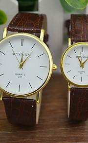 Casal Relógio de Moda Quartz Relógio Casual PU Banda Preta / Marrom marca-