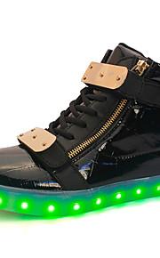 Zapatos de Hombre-Bailarinas-Exterior / Casual-PU-Negro / Blanco