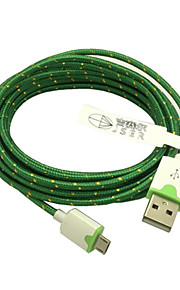 3m 10ft stoff flettet vevd micro usb ladekabel data sync ledningen for HTC sony telefoner (grønn)