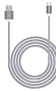 USB 2.0 Typ C Sladd Laddningskabel Laddningssladd Data och synkronisering Flätad Kabel Till Apple iPhone iPad 100 cm Nylon