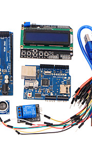 Learning Tools MEGA 2560 R3 Board + Ethernet W5100 + Relay + Breadboard Cable + Hc-Sr04 Sensor Kit for Arduino