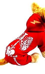 Katte / Hunde Kostume / Jumpsuits Rød / Blå Vinter / Forår/Vinter Dødningehoveder Halloween, Dog Clothes / Dog Clothing-Other