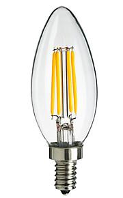 4W E14 Lâmpadas de Filamento de LED C35 4 COB 360LM lm Branco Quente / Branco Frio Decorativa AC 220-240 V 1 pç