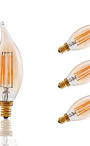3.5W E12 LED Filament Bulbs CA10 COB 300 lm Amber Dimmable / Decorative AC 110-130 V 4 pcs