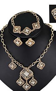 fashionable vintage bryllup smykker sæt krystal legering halskæde øreringe ring kæde armbånd for kvinder alle sæsoner
