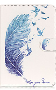 PU Leather Material Blue Feather Embossed  Pattern Tablet Sleeve for iPad mini 1 / 2 / 3