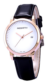 Women's Simple Fashion Date Display PU Leather Strap Quartz Wrist Watch