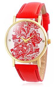Mulheres Relógio de Moda / Relógio de Pulso Quartz / Couro Banda Vintage / Flor / Boêmio / Legal / Casual Preta / Branco / Azul / Vermelho