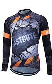 Esportivo Camisa para Ciclismo Homens Manga Comprida MotoRespirável / Mantenha Quente / Secagem Rápida / Zíper Frontal / Compressão /