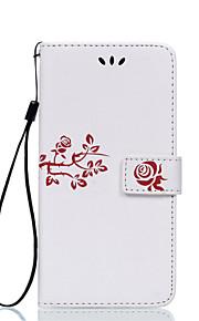 Corpo Completo Entrada de Cartão / Giro / Em relevo Flor Couro Ecológico Duro Case Capa Para LG LG G5 / LG G4