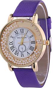 Mulheres Relógio de Moda / Relógio de Pulso Quartz / Couro Banda Legal / Casual Preta / Branco / Azul / Vermelho / Marrom / Rosa / Roxa