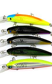 14.5cm 12.7g / Pcs Dive Fishing Tackle Fishing Lures Bionic Bait Fishing Minnow 3 hooks Styles 5PC / Set