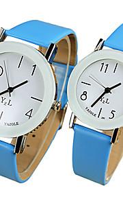 YAZOLE Casal Relógio de Pulso Relógio Casual Quartzo / PU Banda Legal Casual Preta Branco Azul Vermelho Marrom Rosa AmareloAmarelo Marron