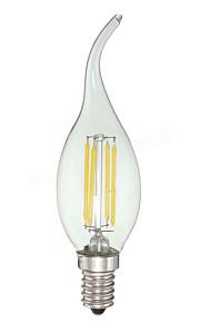 4 E12 LED-lysestakepærer C35 4 COB 380 lm Kjølig hvit Dimbar AC 110-130 V 1 stk.