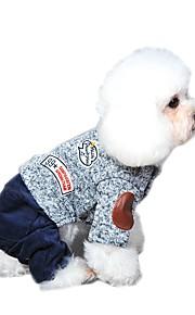 Gatos / Perros Disfraces / Abrigos / Mono / Pantalones Naranja / Amarillo / Azul / Gris Ropa para Perro Invierno / Primavera/Otoño Bloques