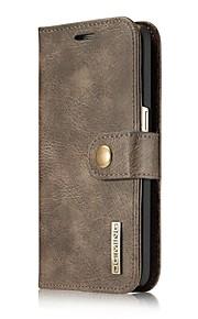 Cuerpo Completo Soporte de Tarjeta / Dar la vuelta Color Sólido Cuero Auténtico Duro Cubierta del caso para Samsung Galaxy S7 edge / S7