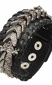 Unisex Fashion Jewelry Stage Gift Gothic Punk Style Alloy Dragon Adjustable Leather Bracelet Casual/Daily Women Men