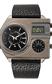 Herren Armbanduhr digital / Japanischer Quartz Wasserdicht Leder Band Bettelarmband Schwarz Marke