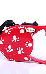 Perros Correas Ajustable/Retractable Huella / Paw Rojo / Negro Nilón