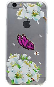 Para Capinha iPhone 7 / Capinha iPhone 6 / Capinha iPhone 5 Transparente / Com Relevo / Estampada Capinha Capa Traseira Capinha Flor Macia