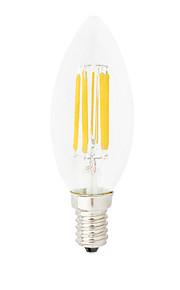 HRY Dimmable C35 6W E14 LED Filament Bulbs C35 6 COB 550LM Warm White / Cool White Edison Retro Bubble Lampada(220V)