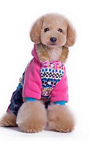 Psy Bluzy z kapturem Niebieski / Różowy Ubrania dla psów Zima Kwiaty Codzienne / Zatrzymujący ciepło /