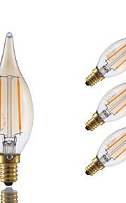 2W E12 LED-glødetrådspærer B 2 COB 160 lm Ravgul Justérbar lysstyrke / Dekorativ V 4 stk.