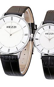 KEZZI Casal Relógio de Pulso Relógio Casual / Quartzo Couro Banda Legal Casual Preta Branco Marrom