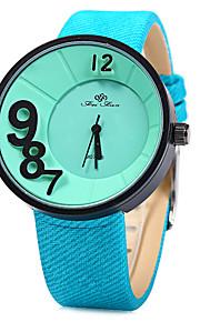 Unissex Relógio de Moda Quartz / Digital Colorido Couro Banda Casual Preta / Branco / Azul / Laranja / Roxa / Amarelo marca