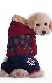 Cani Felpe con cappuccio Rosso / Verde Abbigliamento per cani Inverno Tinta unita Di tendenza / Casual / Sportivo /