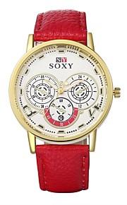 Mulheres Relógio Elegante / Relógio de Moda / Relógio de Pulso Quartz Impermeável Couro Banda Casual Preta / Branco / Vermelho / Verde