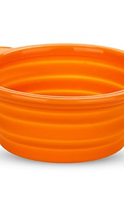 Cat Pet Dog Silicone Travel Bowl Collapsible Folding Dish Feeder Orange