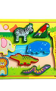 puslespil Pædagogisk legetøj / Puslespil Byggesten DIY legetøj Elefant / Tyr / Hest / Firben / Krokodille 8 Træ Regnbue Hobbylegetøj