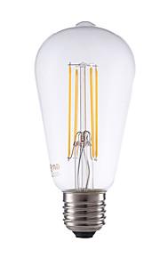 6W E26/E27 LED-glødepærer ST64 4 COB 600 lm Varm hvit Dimbar / Dekorativ AC 220-240 V 1 stk.