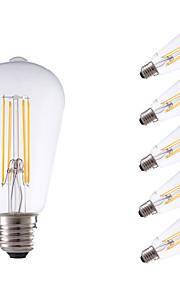 6W E26/E27 LED-glødepærer ST64 4 COB 600 lm Varm hvit Dimbar / Dekorativ AC 220-240 V 6 stk.