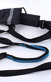 כלבים קולרים / רצועות חוזרמתכווננת / בטיחות / רך / ריצה טלאים Black / כחול ניילון / בד