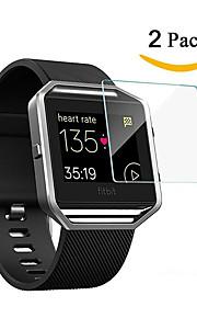 2 pack de cine premium hd dureza 9h clara vidrio balístico protector de pantalla con revestimiento oleófobo para Fitbit resplandor reloj