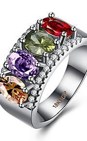 Ringe Kvadratisk Zirconium Daglig Afslappet Smykker Zirkonium Plastik Titanium Stål Wolfram stål Dame Ring 1 Stk.,6 7 8 9 Sølv